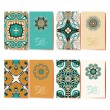 Collection of ornamental floral business cards, oriental pattern — Stock Vector #56806223