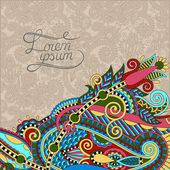 Paisley design on decorative floral background for invitation, p — Cтоковый вектор
