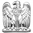 Black and white drawing of heraldic sculpture eagle — Stock Vector #57011701