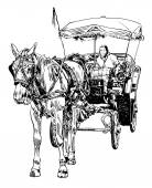 Black and white sketch drawing of horse driver — ストックベクタ