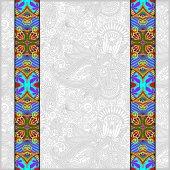 Lace border stripe in ornate floral background — Vetor de Stock