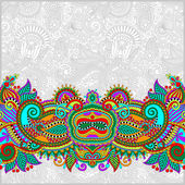 Paisley design on decorative floral background for invitation — Stockvektor