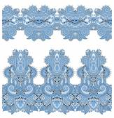 Blue colour seamless ethnic floral paisley stripe pattern — Stock Vector
