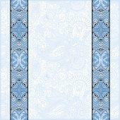 Blue colour lace border stripe in ornate floral background — Stockvektor