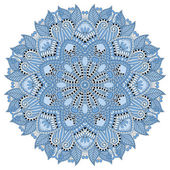 Mandala, blue colour circle decorative spiritual indian symbol — Stok Vektör