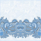 Blue colour paisley design on decorative floral background — Vector de stock