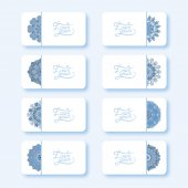 Blue colour collection of ornamental floral business cards — Stock Vector