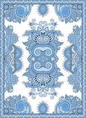 Blue colour ukrainian floral carpet design for print on canvas — Stock Vector
