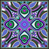 Silk neck scarf or kerchief square pattern design — Stock Vector
