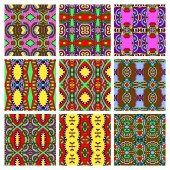 Set of different seamless colored vintage geometric pattern — Vector de stock