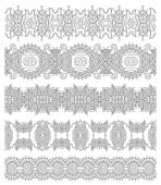 Collection of seamless ornamental floral stripes, black and white — Stock Vector