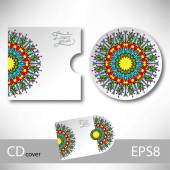 CD cover design template with ukrainian ethnic style — Stock vektor