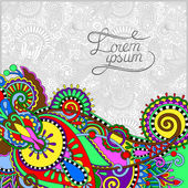 Paisley design on decorative floral background for invitation — Stock Vector