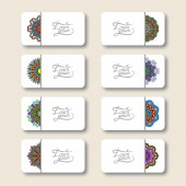 Collection of ornamental floral business cards — Vetor de Stock
