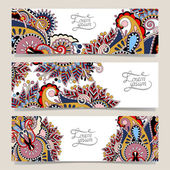 Set of three horizontal banners with decorative ornament — Vector de stock