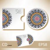 CD cover design template with ukrainian ethnic style ornament — Stock vektor