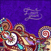 Paisley design on decorative floral violet colour background for — Stock Vector