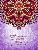 Flower design on grunge violet colour background — Stock Vector