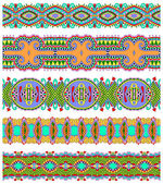 Seamless ethnic floral paisley stripe pattern, border set — Stock Vector