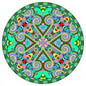 Decorative design of circle dish template, round geometric — Vetor de Stock