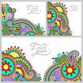 Set of floral decorative background, template frame design — Stock Vector