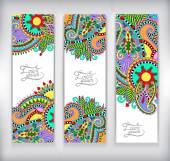 Set of decorative flower template banner, card, web design — Stock Vector