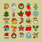 Set of sketch drawing christmas doodle icons — Stockvector