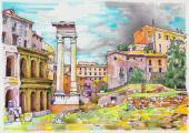 Original marker painting of Rome Italy cityscape — Stock Vector