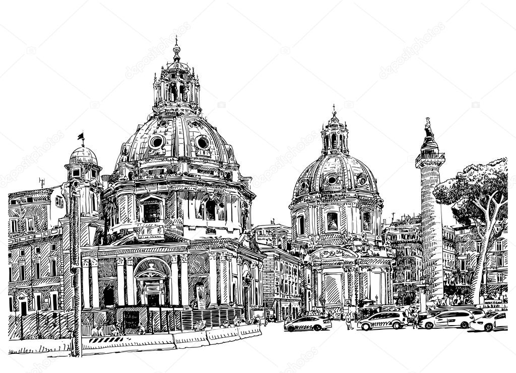 Black and white digital drawing of Rome Italy cityscape ...