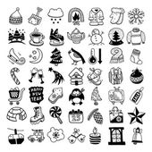 Sketch hand drawing winter icons set — Stock Vector