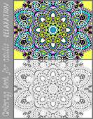 Coloring book page for adults - flower paisley design — Stockvector