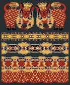 Seamless ethnic animal paisley stripe pattern — Stock Vector