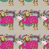 Ethnic seamless pattern fabric with unusual tribal animal — Stock Vector