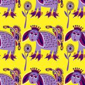 Ethnic seamless pattern fabric with unusual tribal animal — 图库矢量图片