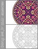 Coloring book page for adults - flower paisley design — Stockvektor