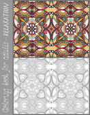 Coloring book page for adults - flower paisley design — Vecteur