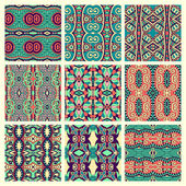 Set of different seamless colored vintage geometric pattern — Stock Vector