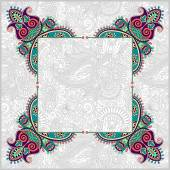 Floral frame, ethnic ukrainian ornament on paisley background — Stock Vector