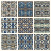 Different seamless colored vintage geometric pattern — Stock Vector