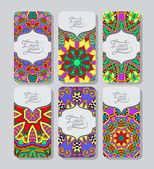 Collection of ornamental floral business cards — Wektor stockowy