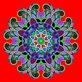Circle decorative spiritual indian symbol of lotus flower — Stock Vector