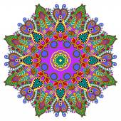 Circle decorative spiritual indian symbol of lotus flower — Stok Vektör