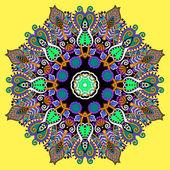 Mandala, circle decorative spiritual indian symbol of lotus flow — Stock Vector