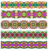 Ethnic floral paisley stripe pattern, border set — Stock Vector