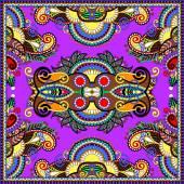 Ornamental floral paisley bandanna. Square ornament — Stock Vector