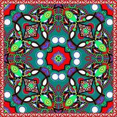Traditional ornamental floral paisley bandanna — Stock Vector