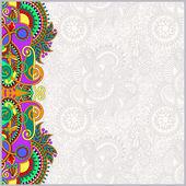 Paisley design on decorative floral background for invitation — Vector de stock