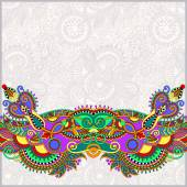 Paisley design on decorative floral background for invitation — Vettoriale Stock