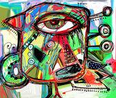 Abstract digital painting artwork of doodle bird — Vecteur