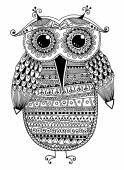 Black and white original ethnic owl ink drawing — Stock Vector